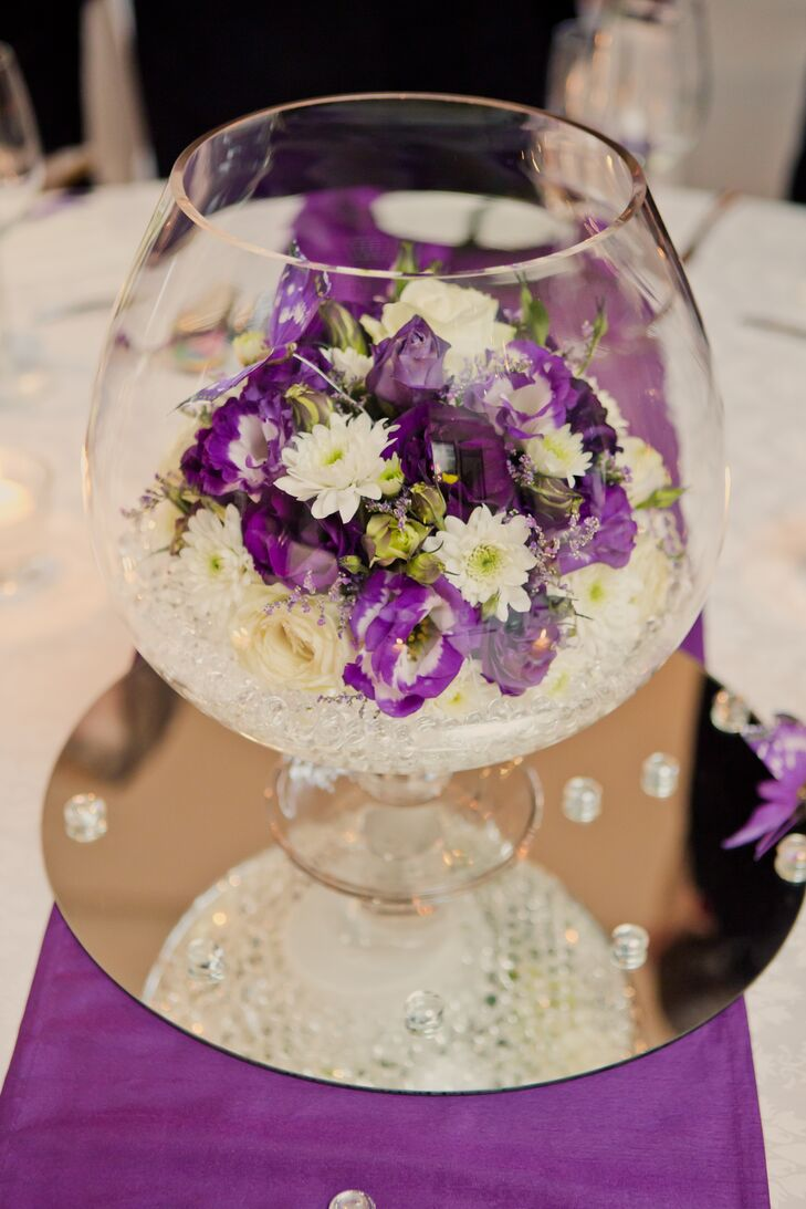 Mirrored Centerpieces With Purple and White Flowers