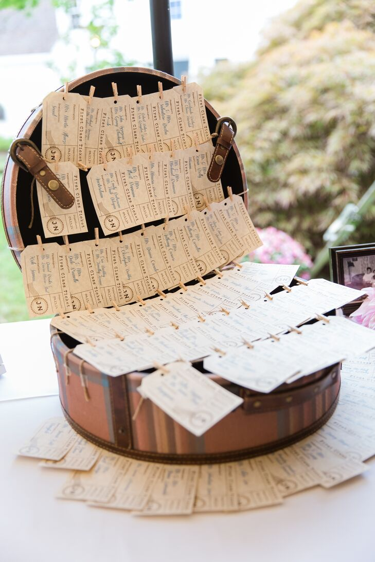 Adventure-seeking souls, every year on their shared birthday—Cinco de Mayo—Jennifer and Nick plan a long weekend away. As a nod to their love of travel, the pair integrated travel-inspired elements into everything from the escort cards to the table names and even the wedding cake. Vintage-style luggage-tag escort cards directed guests to their seats, while the cake was designed to look like a stack of antique suitcases.
