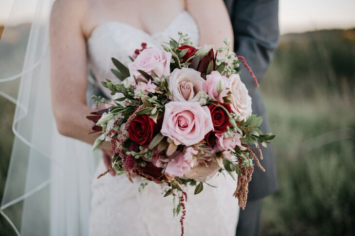 Pink and Red Rose Bouquet with Astilbe Accents