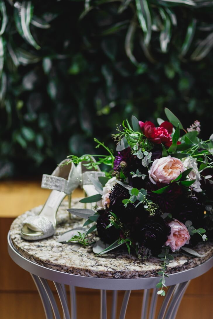 The Bride's Glamorous Heels and Her Bouquet of Dahlias, Peonies and Eucalyptus
