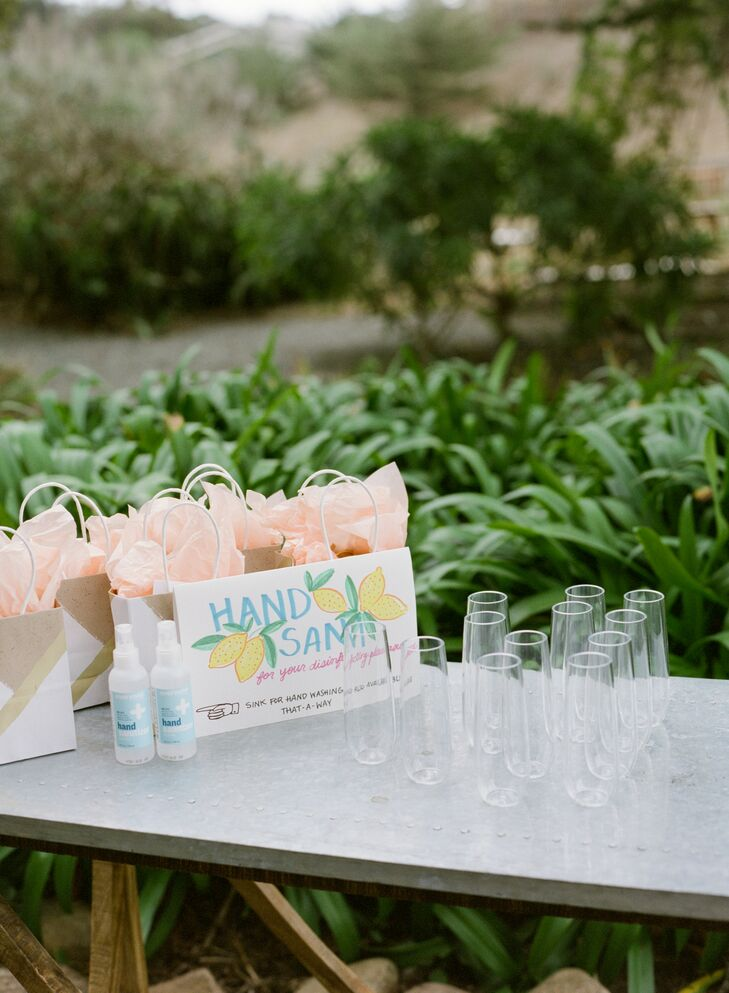Hand Sanitizer at Wedding Welcome Table