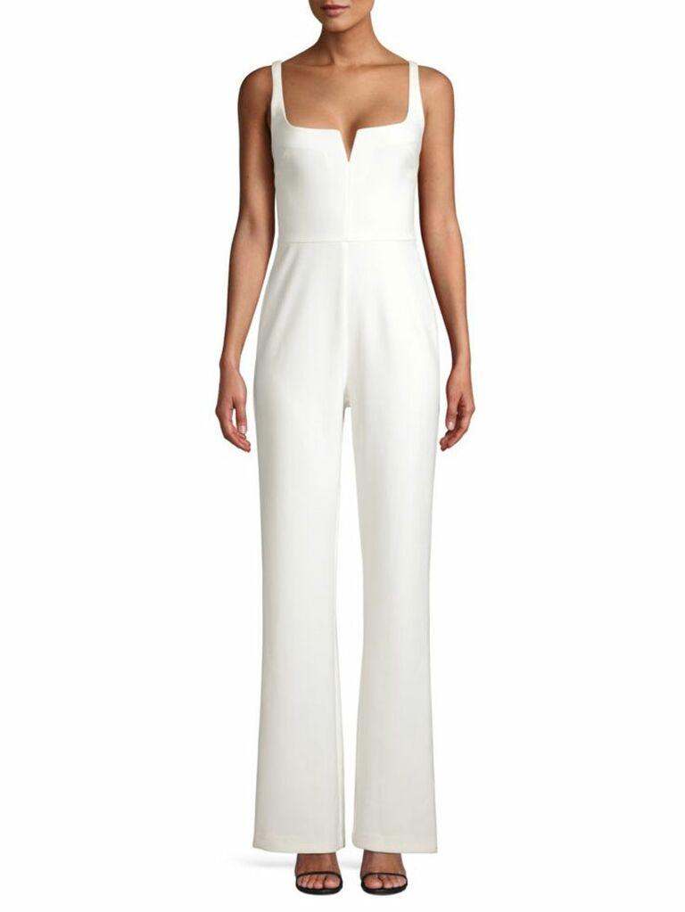 simple white wedding jumpsuit