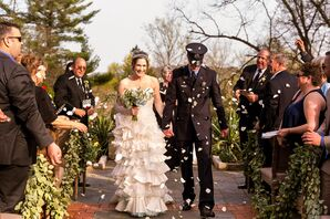 Jill Andrews Strapless Ruffled Gown