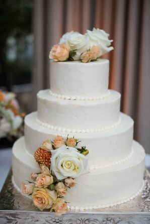 Textured Buttercream Cake with Peach Roses