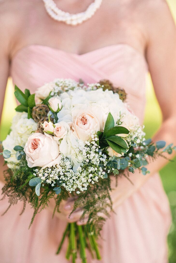 Bouquet with Baby's Breath, Peonies and Hydrangea