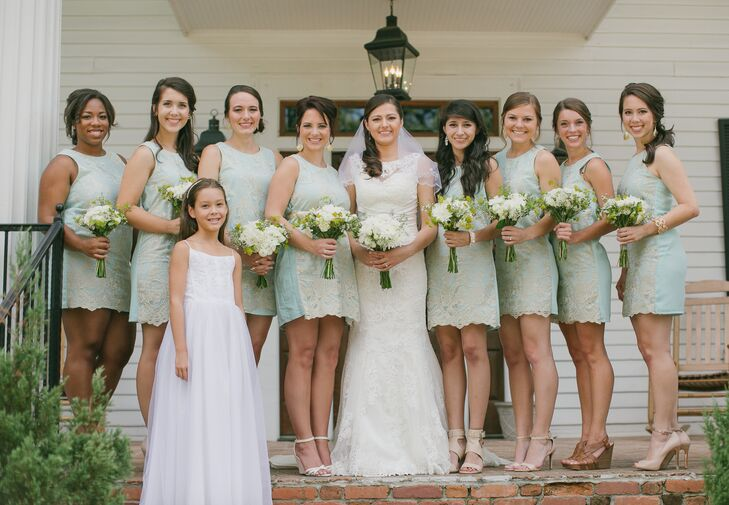 e903e8dc01 Laila gave her bridesmaids their mint dresses with gold lace overlays as a  gift. ""
