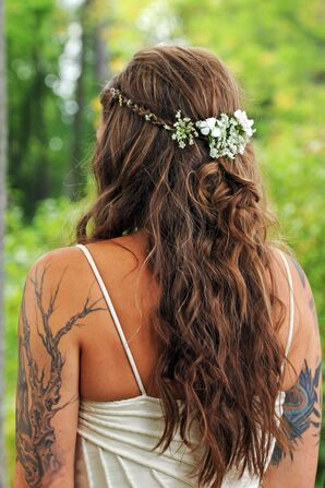 Half-Up Bridal Hairstyle with Wildflowers
