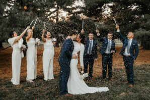 Confetti Toss at Wedding at Cherry Hall in Kansas City, Missouri