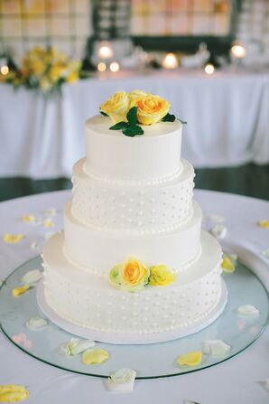 White Buttercream Cake with Yellow Flowers