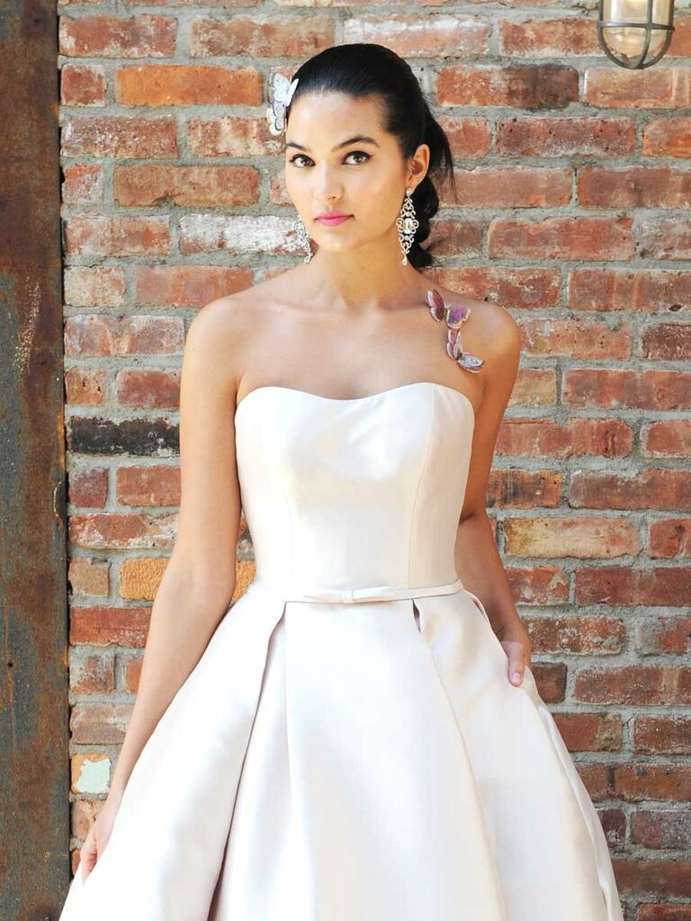 fdd987fb6b42 Rebecca Ingram's Fall 2018 blush wedding dress with sweetheart neckline and  high-low hemline