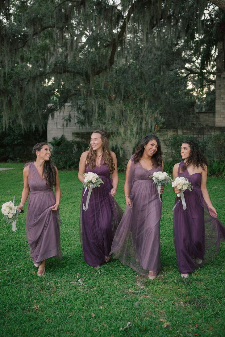 Purple Grecian-Inspired Bridesmaid Dresses