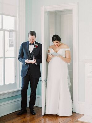 Bride and Groom Exchange Love Letters at North Carolina Wedding at The Merrimon-Wynne House
