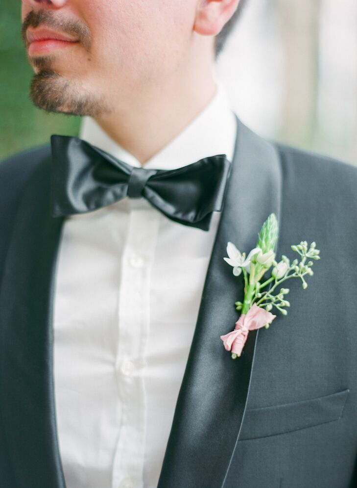 Simple White Tuberose Boutonniere with Pink Ribbon
