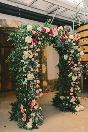 Garden-Inspired Pink Rose and Lush Greenery Wedding Arch