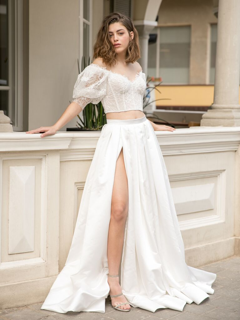 Dana Harel Spring 2020 Bridal Collection two-piece wedding dress with high slitted skirt