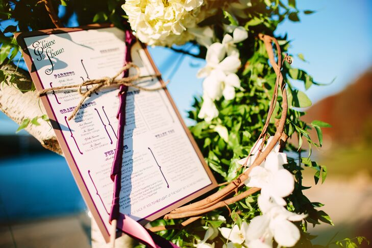 """The ceremony programs, designed by a friend of the couple, included a section of fun facts. as Elaine puts it: """"We wanted something interesting for guests to read while they waited for the ceremony to begin."""""""