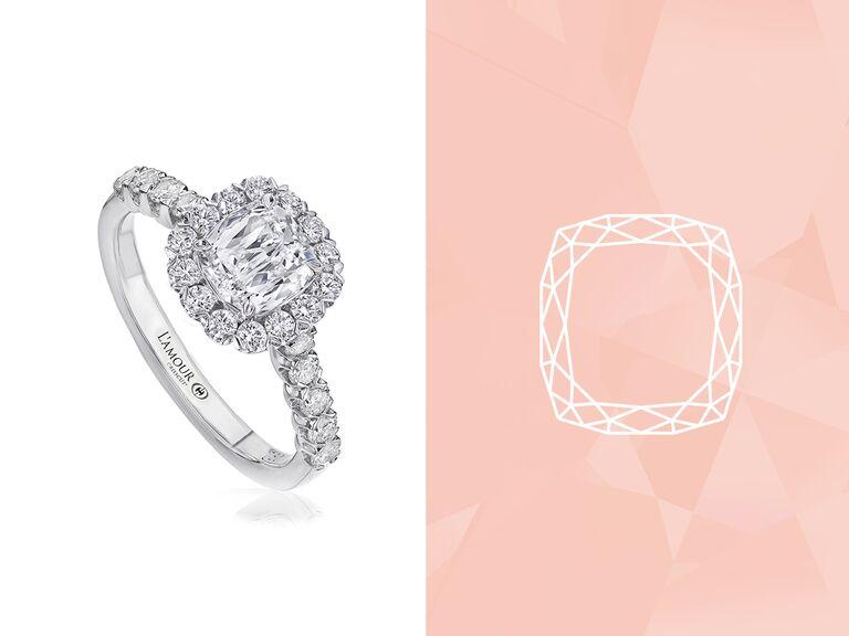 L'Amour Crisscut cushion engagement ring