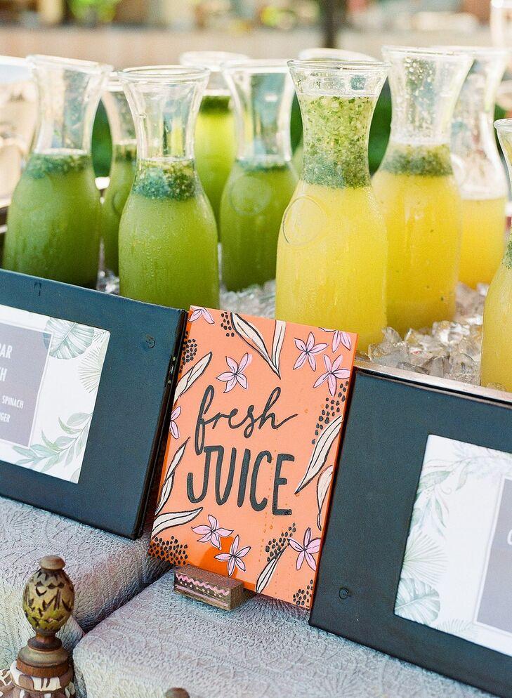 Fresh Juice at Post-Wedding Brunch in Hawaii