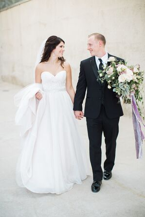 Gown With Sweetheart Neckline and Layers of Tulle, Organza