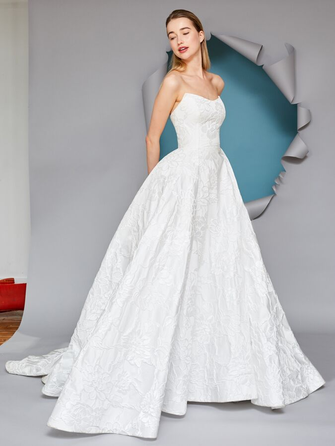 Gracy Accad strapless brocade ball gown