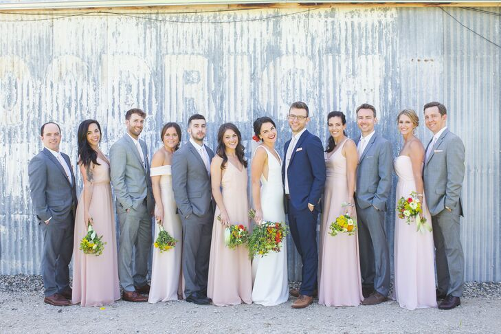 Pale Blush Bridesmaid Dresses and Gray Suits