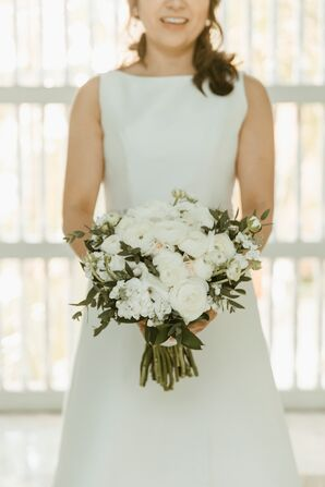 Simple White Bouquet with Greenery