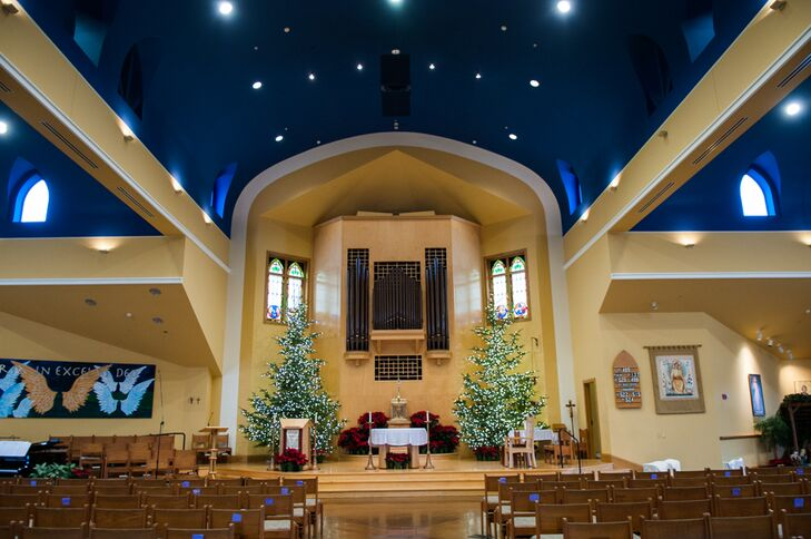The couple had their traditional wedding ceremony at St. Andrew Catholic Church in Sumner, Washington, not only because they were both raised Catholic, but also because it was where Blair's parents had their ceremony. Classic pine trees were displayed at the front of the altar where the couple spoke their vows.