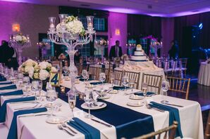 White and Blue Linens with Candelabra