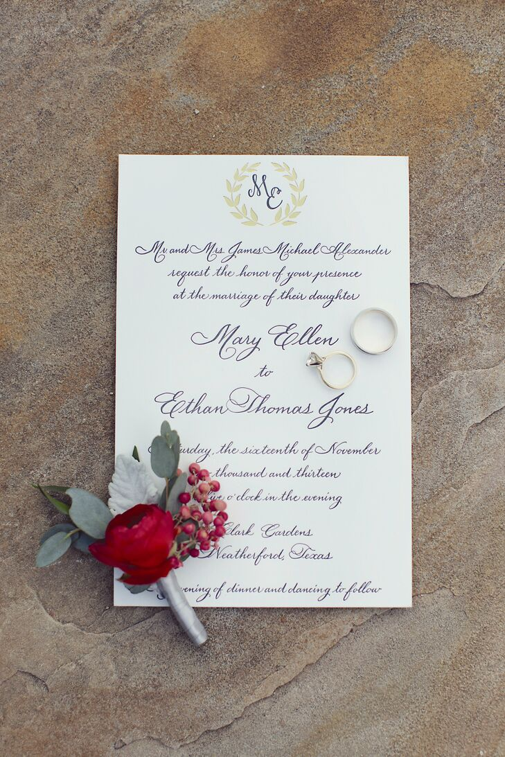The elegant white invitations featured a lovely black script.