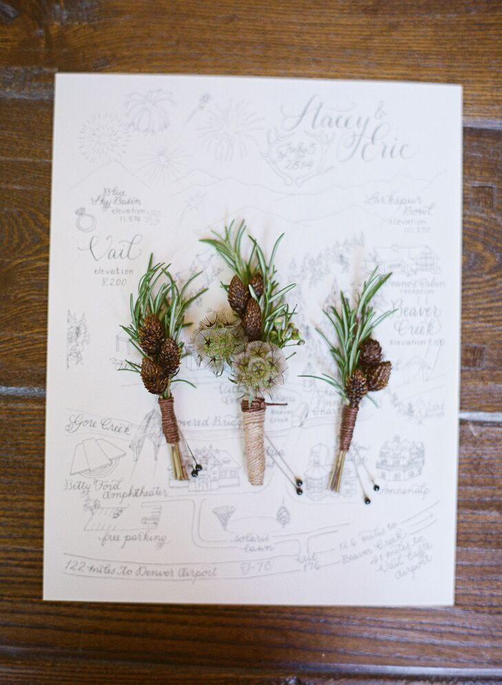 Rustic Scabiosa Pod, Pinewood, Rosemary Boutonnieres