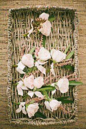 Blush Rose Boutonnieres in Basket
