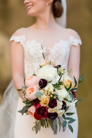 Bouquet with Scabiosa and Roses at The Meridian House in Washington, D.C.