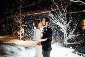 Romantic Kiss in the Snow