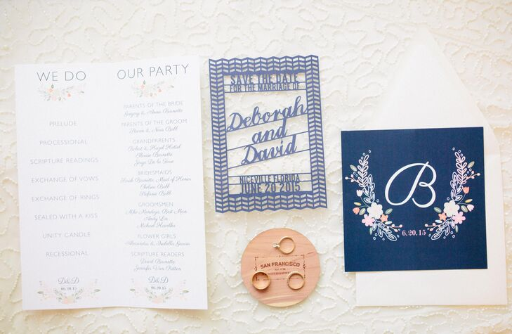 A friend who has an Etsy store created the couple's invitations, and they designed and laser-cut their own save-the-dates.
