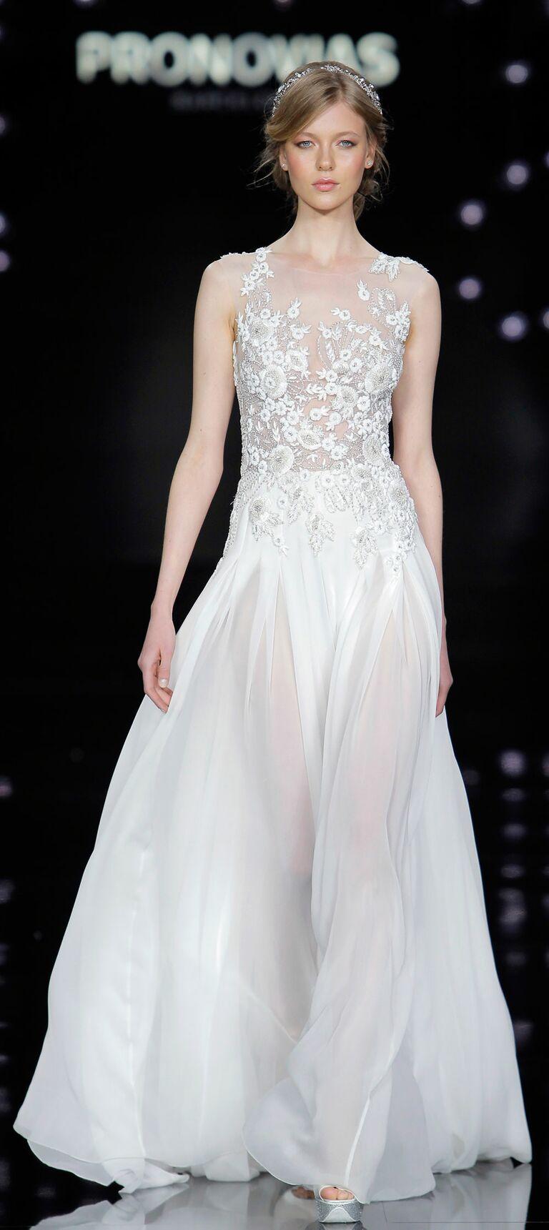 Pronovias 2017 illusion lace wedding dress