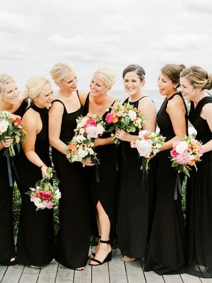 Long Black Bridesmaid Dresses and Pink Bouquets
