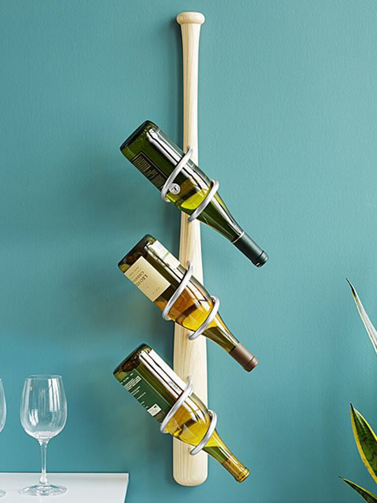 Baseball bat wine rack gift for father-in-law