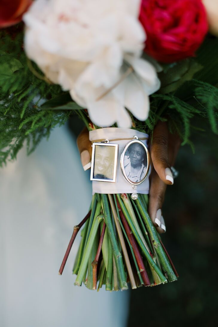 Picture Charms on Bouquet to Honor Late Relatives