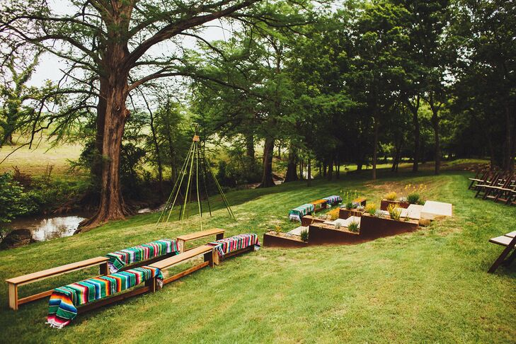 Camp Comfort Wedding Ceremony With Benches