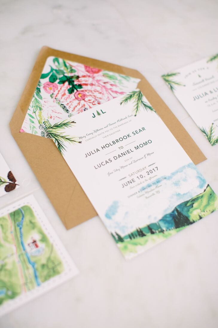 The couple immersed their guests in the natural beauty of the Catskills long before they even set foot onto Onteora Mountain House's expansive property in Boiceville, New York, with custom invitations designed by Wide Eyes Paper Company. Featuring brilliant floral envelope liners, a custom map and illustrations of the venue and the rolling hills beyond, the stationery was a bona fide work of art.
