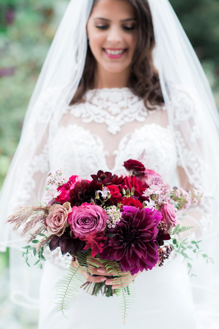Dramatic Purple and Burgundy Dahlia and Rose Bouquet