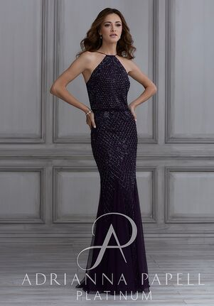 Adrianna Papell Platinum 40134 Halter Bridesmaid Dress