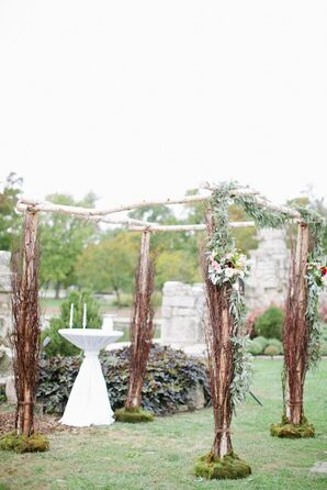 Olive Branch and Garden-Rose-Adorned Wedding Chuppah