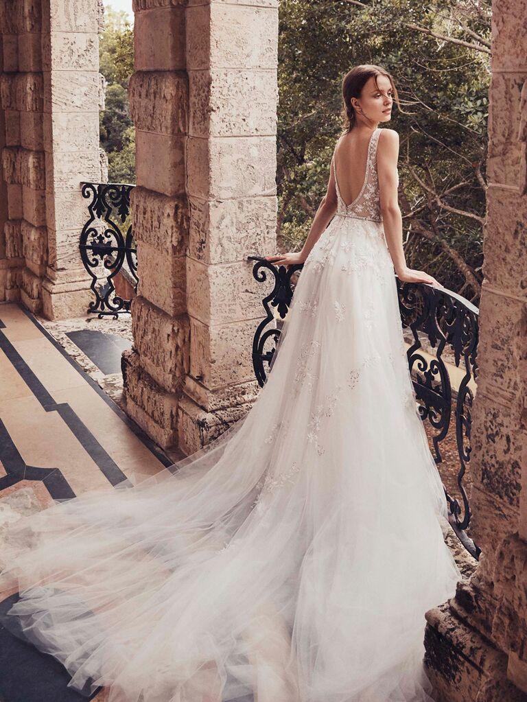 Monique Lhuillier Spring 2020 Bridal Collection lace low-back wedding dress