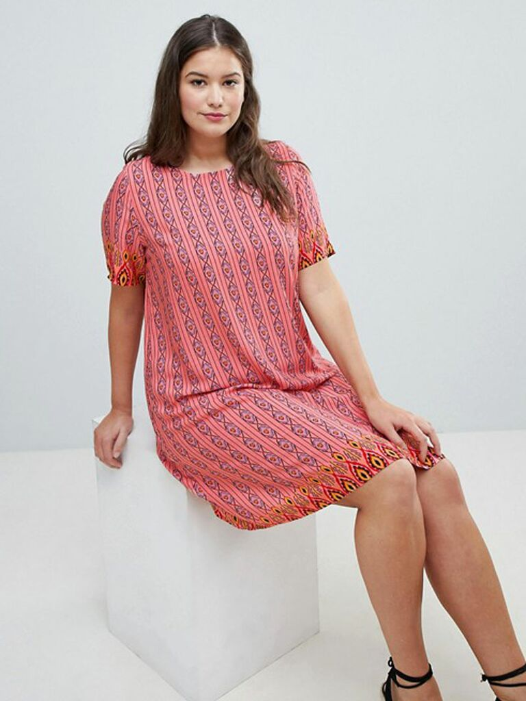 Curve Shift Dress In Geo-Tribal Print