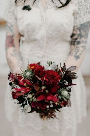 Fall Burgundy Bouquet with Thistles, Carnations and Chrysanthemums