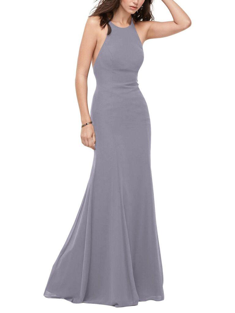 Purple gray long bridesmaid dress