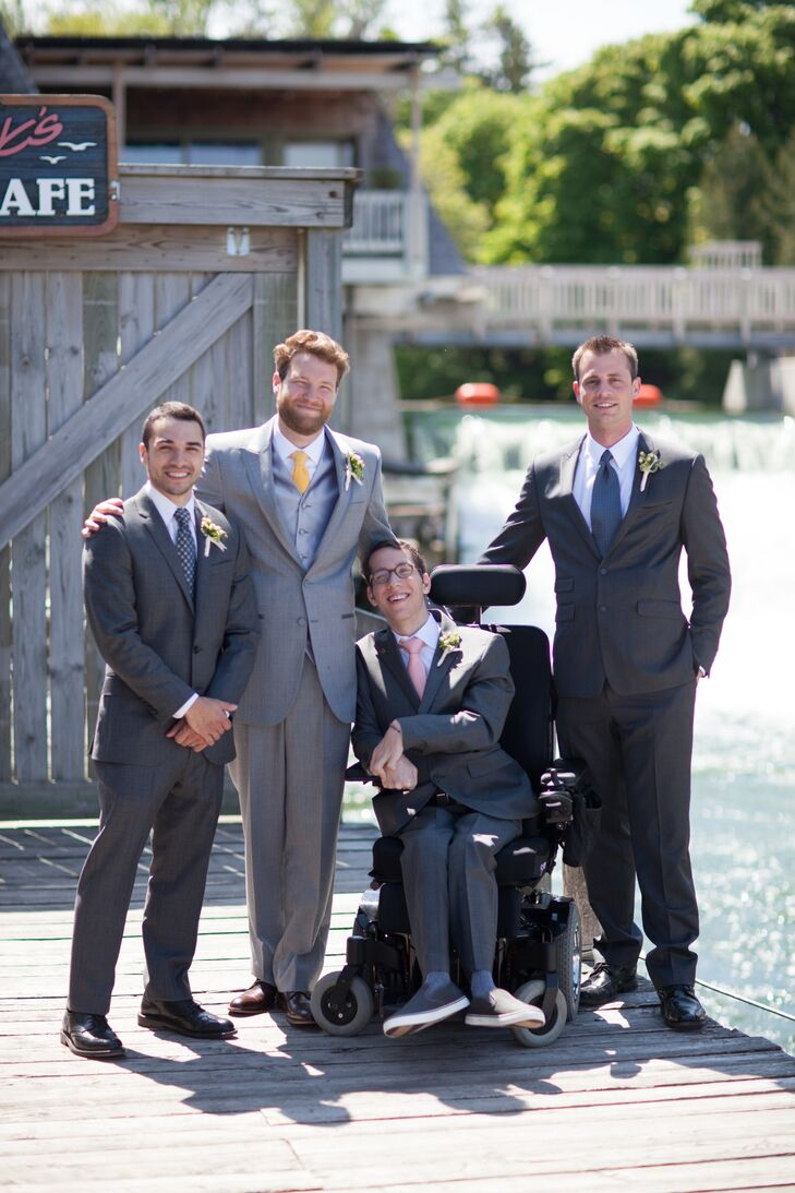The groom wanted to tie his look into the casual bright feel of the rest of the wedding. He wore a light gray suit and his groomsmen wore dark gray. Their floral ties were handmade by Andrea of Pomp and Ceremony (Etsy) and incorporated the Liberty florals.