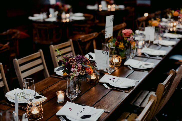 Farm Table with Multicolored Floral Arrangements