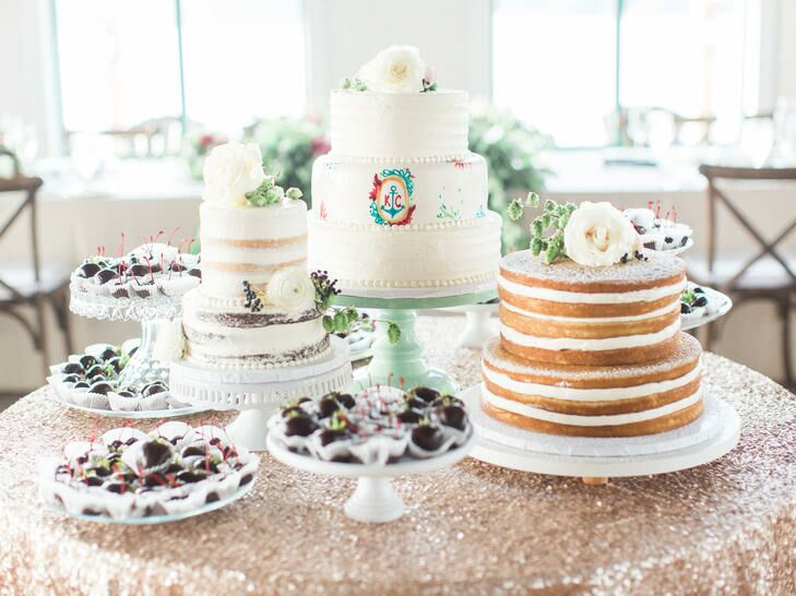 Multiple wedding cake styles with buttercream and naked cakes